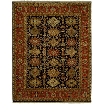 Mcnabb Hand Knotted Wool Black/Red Area Rug Rug Size: Round 6