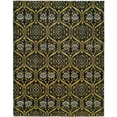 Hessie Hand Knotted Wool Black/Gold Area Rug Rug Size: Runner 26 x 12