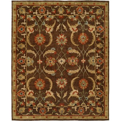Ranbir Hand Knotted Wool Brown Area Rug Rug Size: Rectangle 9 x 12