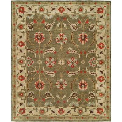Hor Hand Knotted Wool Green/Ivory�Area Rug Rug Size: Rectangle 4 x 6
