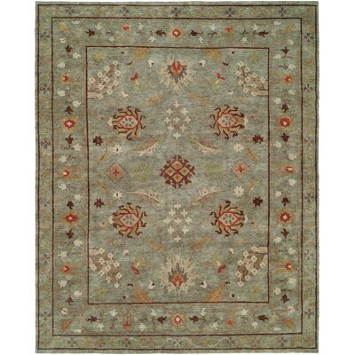 Hicks Hand Knotted Wool Blue Area Rug Rug Size: Rectangle 9 x 12