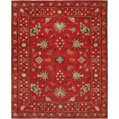 Priyansh Hand Knotted Wool Red Area Rug Rug Size: Rectangle 4 x 6