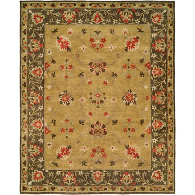 Meredith Hand Knotted Wool Gold/Brown Area Rug Rug Size: Rectangle 6 x 9