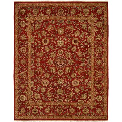 Marquardt Hand Knotted Wool Red Area Rug Rug Size: Rectangle 4 x 6