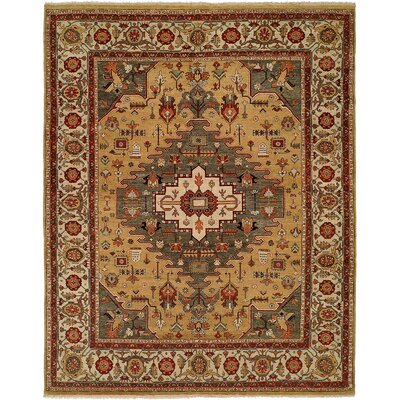 Mccray Hand Knotted Wool Gold/Rust Area Rug Rug Size: Rectangle 4 x 6