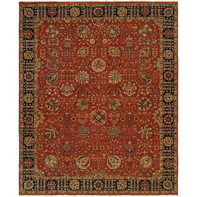 Mcalpine Hand Knotted Wool Rust/Black Area Rug Rug Size: Rectangle 4 x 6