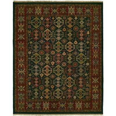Lisbeth Flat Woven Wool Green/Red Area Rug Rug Size: Round 6