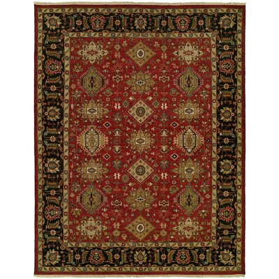 Domingues Wool Red/Black Area Rug Rug Size: Round 10