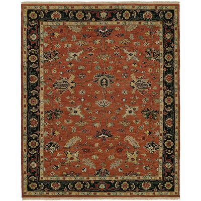 Herscher Flat Woven Wool Rust/Black Area Rug Rug Size: Rectangle 9 x 12