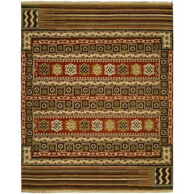 Ericka Wool Brown Area Rug Rug Size: Round 6'