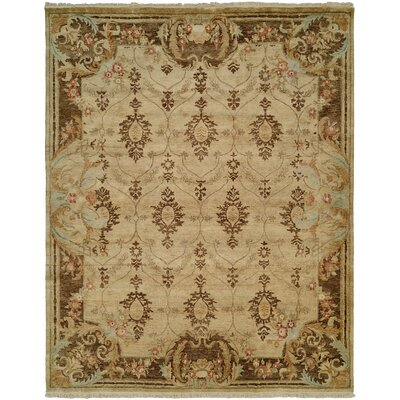 Marystone Hand Knotted Wool Ivory/Brown Area Rug Rug Size: Rectangle 6 x 9