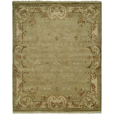 Marwood Hand Knotted Wool Green/Ivory Area Rug Rug Size: Rectangle 4' x 6'