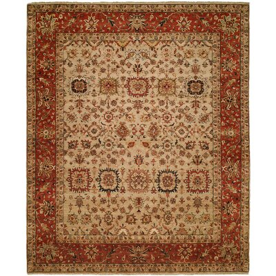 Massengill Hand Knotted Wool Ivory/Rust Area Rug Rug Size: Rectangle 6 x 9
