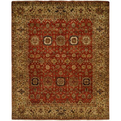 Massena Hand Knotted Wool Rust/Camel Area Rug Rug Size: Rectangle 6 x 9