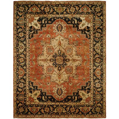 Matilda Hand Knotted Wool Rust/Navy Area Rug Rug Size: Runner 26 x 10
