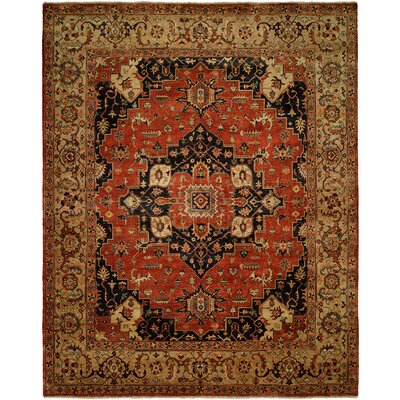 Maude Hand Knotted Wool Rust/Ivory Area Rug Rug Size: Rectangle 2 x 3