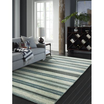 Phillipston Hand-Knotted Cotton Turquoise/Gray Area Rug Rug Size: Rectangle 86 x 116