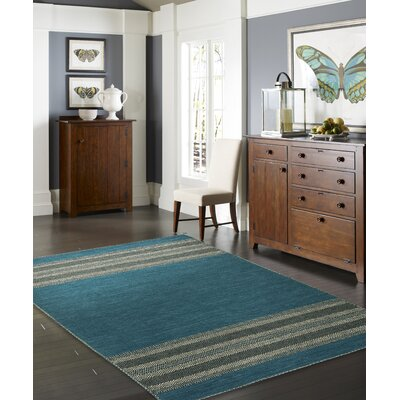 Dolley Hand-Knotted Cotton Teal Area Rug Rug Size: Rectangle 36 x 56