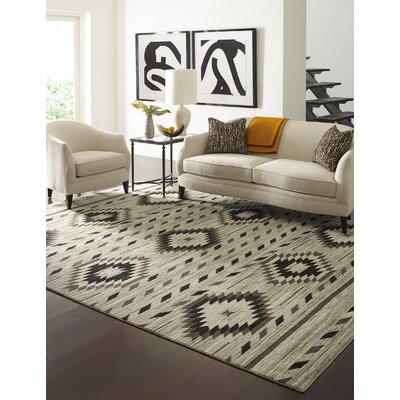 Reading Hand-Knotted Wool Ivory Area Rug Rug Size: Rectangle 9 x 12