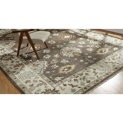 Glenda Hand Knotted Wool Brown/Ivory Area Rug Rug Size: Rectangle 10 x 14