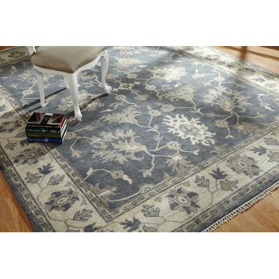 Jayesh Hand Knotted Wool Blue/Ivory Area Rug Rug Size: Rectangle 6 x 9