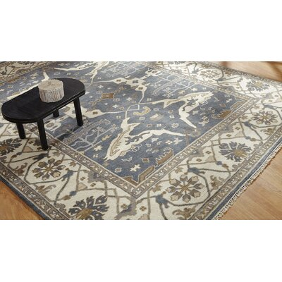 Mitul Hand Knotted Wool Blue/Ivory Area Rug Rug Size: Rectangle 6 x 9