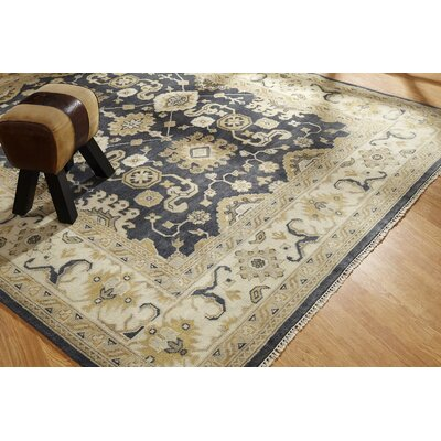 Ojas Hand Knotted Wool Black/Ivory Area Rug Rug Size: Rectangle 6 x 9