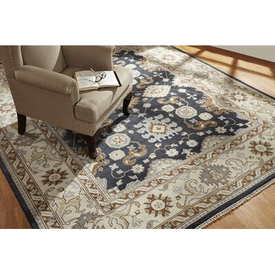 Wright Hand Knotted Wool Black/Ivory Area Rug Rug Size: Rectangle 6 x 9