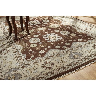 June Hand Knotted Wool Brown/Ivory Area Rug Rug Size: Rectangle 10 x 14