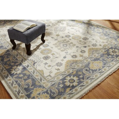 Maureen Hand Knotted Wool Ivory/Blue Area Rug Rug Size: Rectangle 6 x 9