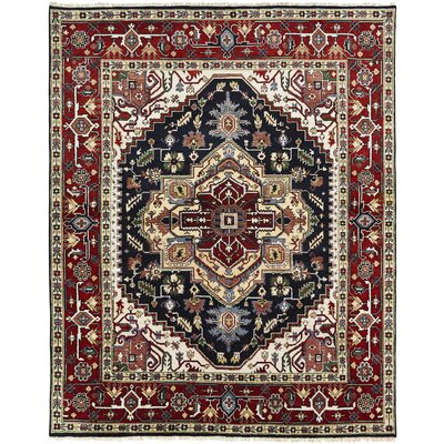Marseilles Hand Knotted Wool Black/Red Area Rug Rug Size: Rectangle 10 x 14