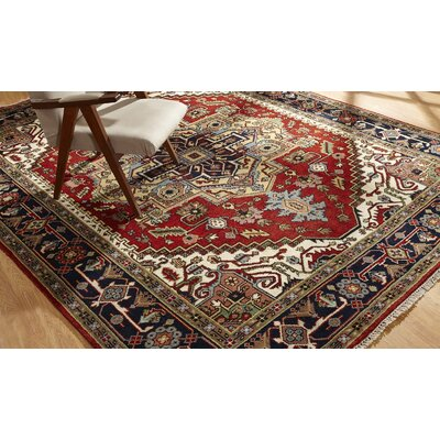 Marshallton Hand Knotted Wool Red/Black Area Rug Rug Size: Rectangle 6 x 9