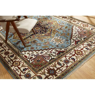 Martens Hand Knotted Wool Blue/Ivory Area Rug Rug Size: Rectangle 9 x 12