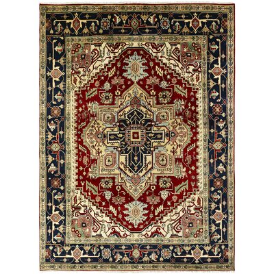 Martina Hand-Knotted Wool Navy Blue/Red Area Rug Rug Size: Rectangle 9 x 12