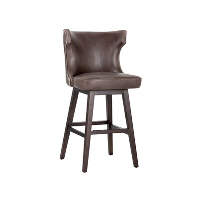 5west Neville 30 Swivel Bar Stool Upholstery: Brown
