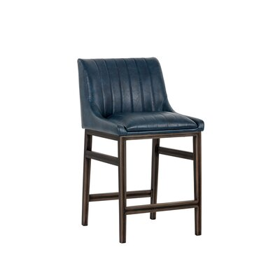 Halden Armless Counter 26 Bar Stool Upholstery: Blue