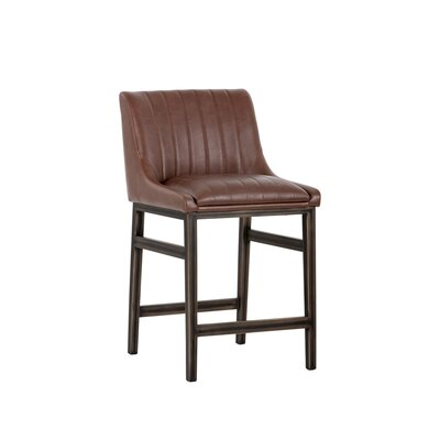 Halden Armless Counter 26 Bar Stool Upholstery: Cognac