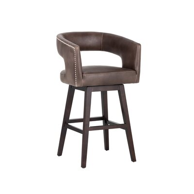 5west Draco 30 Swivel Bar Stool Upholstery: Brown