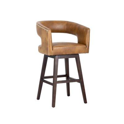 5west Draco 30 Swivel Bar Stool Upholstery: Tan