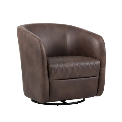 5west Dax Swivel Barrel Chair Upholstery: Brown