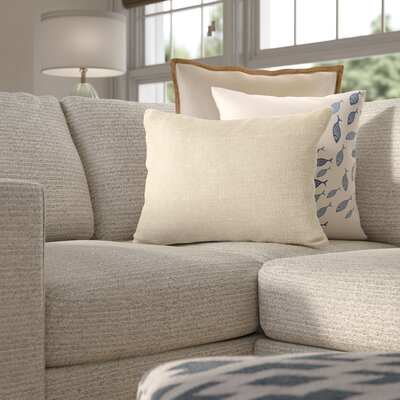 Laurel Metallic Foiled Burlap  Lumbar Pillow Color: Ivory