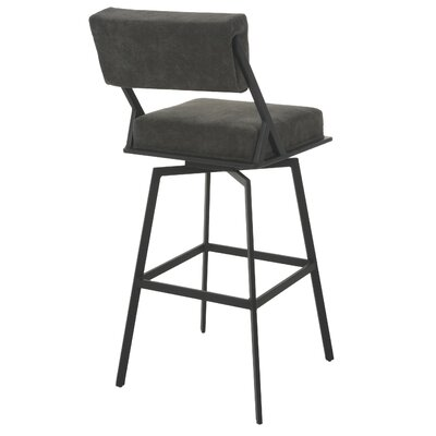 Shiffer 26 Swivel Bar Stool Frame Color: Satin Black, Upholstery: Charcoal