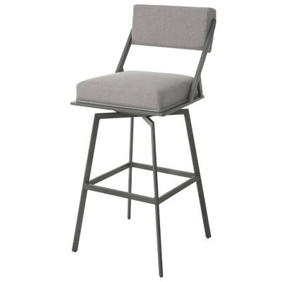 Shiffer 30 Swivel Bar Stool Frame Color: Nickel, Upholstery: Gray