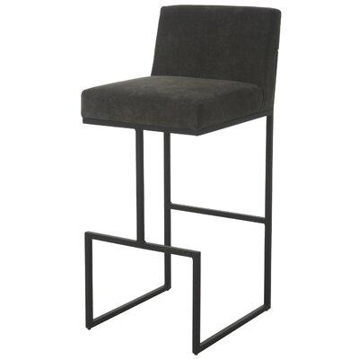 Shiflet 26 Bar Stool Frame Color: Satin Black, Upholstery: Charcoal