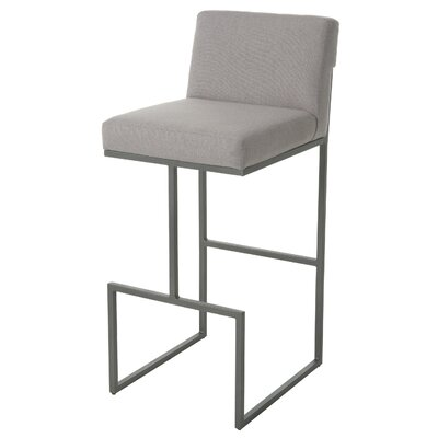 Shiflet 26 Bar Stool Frame Color: Nickel, Upholstery: Gray