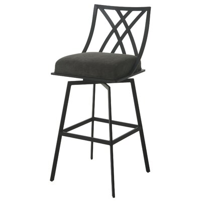Shilling 30 Swivel Bar Stool Frame Color: Satin Black, Upholstery: Charcoal