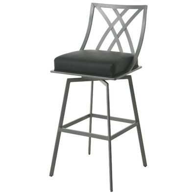 Shilling 30 Swivel Bar Stool Frame Color: Nickel, Upholstery: Black
