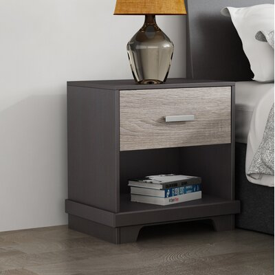 Sherita 1 Drawer Nightstand Color(Base/Top): Java Brown/Sonoma