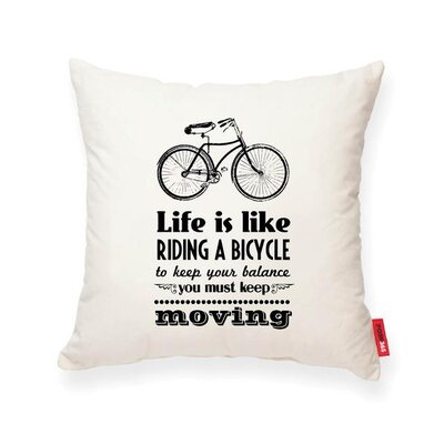 Luxury Bicycle Life Cotton Throw Pillow Color: Cream, Size: 18H x 18W
