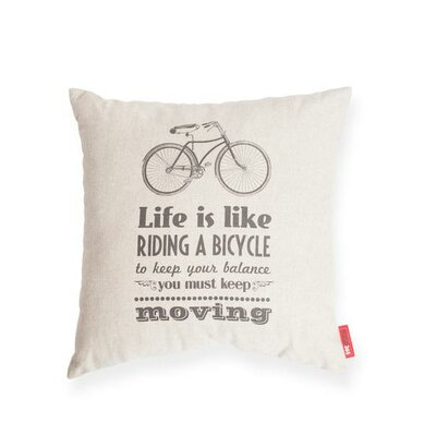 Domaine Life is Like Riding a Bicycle Cotton Throw Pillow